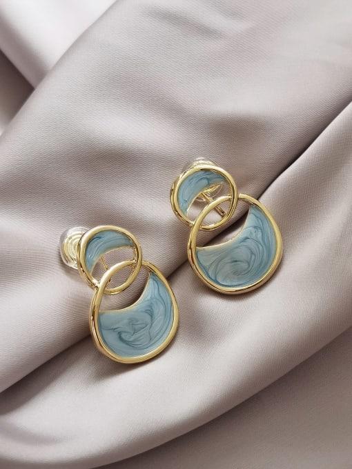 14k Gold [ ear clip] Brass Enamel Geometric Vintage Stud Earring